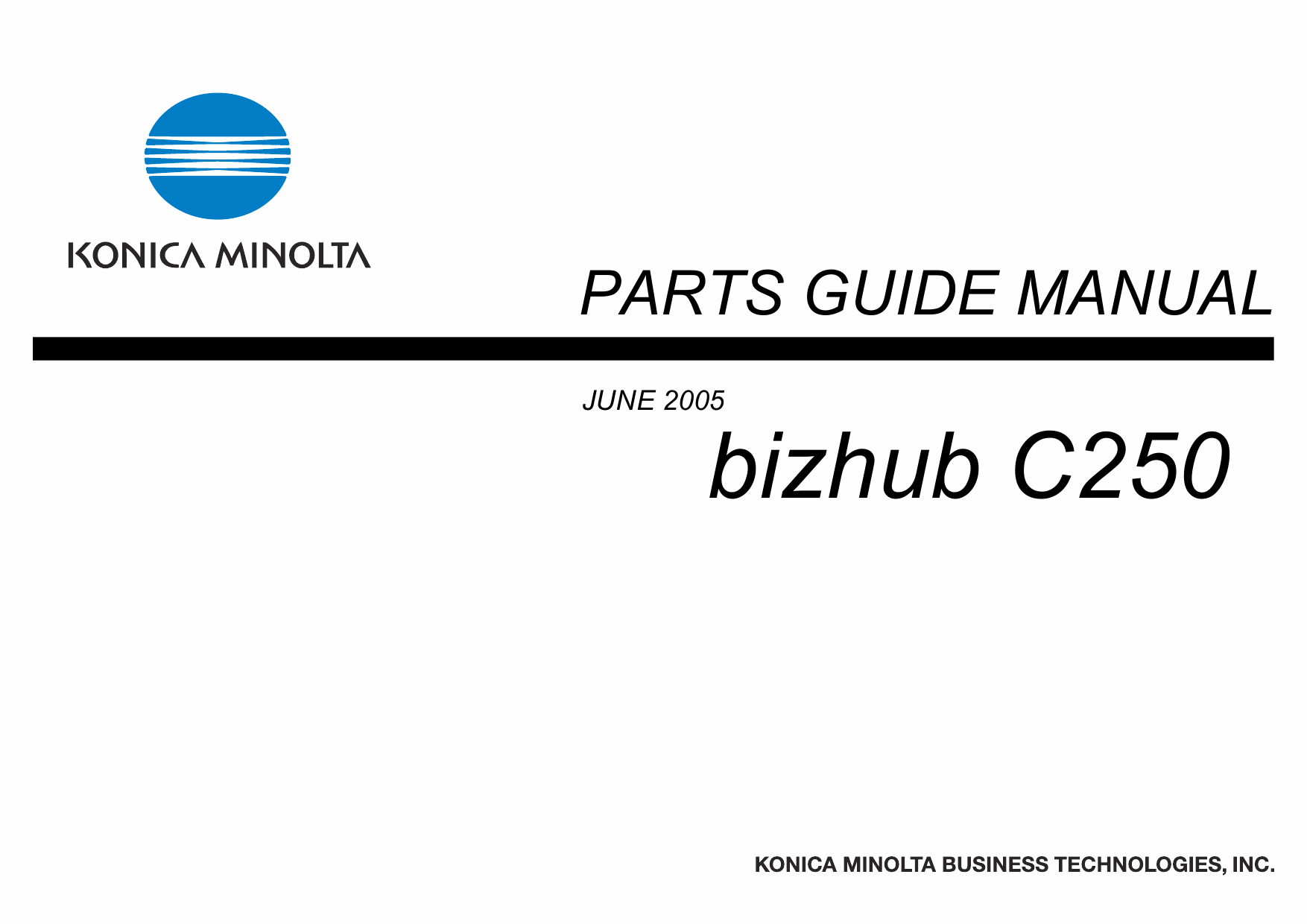 Konica-Minolta bizhub C250 Parts Manual